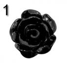 #01a - 5 Stück Resin Rose Beads ca. 10x6 mm - schwarz - shiny
