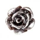#34 - 5 Stück Resin Rose Beads ca. 10 mm - dk brown - silber coated