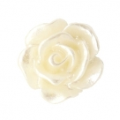 #40 - 5 Stück Resin Rose Beads ca. 10 mm - pastel beige - silber coated
