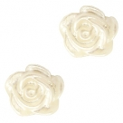 #40a - 5 Stück Resin Rose Beads ca. 6 mm - pastel beige - silber coated