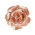 #47 - 5 Stück Resin Rose Beads ca. 10 mm - white - ginger rose pearl shine coated