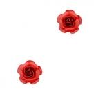 2 Stück Metall Rosen  ca. 8 mm - rot