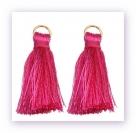 1 Stück Mini-Perlen-Quaste (ca. 3,6cm)  Ibiza Style - mit Öse - hot pink