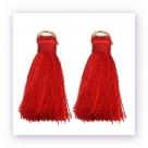 1 Stück Mini-Perlen-Quaste (ca. 3,6cm)  Ibiza Style - mit Öse - red