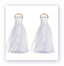 1 Stück Mini-Perlen-Quaste (ca. 3,6cm)  Ibiza Style - mit Öse - white