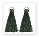 1 Stück Mini-Perlen-Quaste (ca. 3,6cm)  Ibiza Style - mit Öse - dk green
