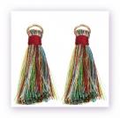 1 Stück Mini-Perlen-Quaste (ca. 3,6cm)  Ibiza Style - mit Öse - multi color