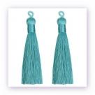 1 Stück Textil-Quaste (ca. 9,0cm) - mit Öse - blue turquoise