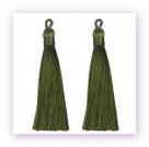 1 Stück Textil-Quaste (ca. 9,0cm) - mit Öse - olive