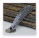 1 Stück Textil-Quaste (ca. 12,0cm) - zum Einkleben - grey
