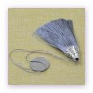 1 Stück Textil-Quaste (ca. 8,0cm) - mit antik silber Endkappe und Faden - grey