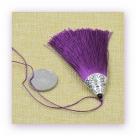 1 Stück Textil-Quaste (ca. 8,0cm) - mit antik silber Endkappe und Faden - purple