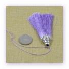 1 Stück Textil-Quaste (ca. 8,0cm) - mit antik silber Endkappe und Faden - lavender