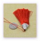 1 Stück Textil-Quaste (ca. 8,0cm) - mit antik silber Endkappe und Faden - brick red