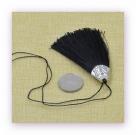 1 Stück Textil-Quaste (ca. 8,0cm) - mit antik silber Endkappe und Faden - black