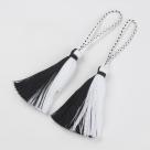 1 Stück Textil-Quaste (ca. 95~98mm lang)  - mit Schlaufe - schwarz/weiß