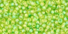 10 g TOHO Seed Beads 11/0 TR-11-0164 - Tr.-Rainbow Lime Green