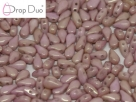 #02.07 - 25 Stück DropDuo Beads 3x6 mm - Chalk White Red Luster