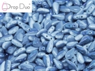 #02.09 - 25 Stück DropDuo Beads 3x6 mm - Chalk White Blue Flare Full