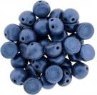 #03.02 25 Stck. 2-Hole CzechMates Cabochon 7mm - Metallic Suede - Blue