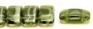 #08.00 - 10 Stück Zweiloch-Glasperle 9x17 mm - opal olivine meliert
