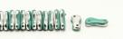 #00.00 - 50 Stück Link Beads 3x10 mm - Green Turquoise Opaque Half Labrador