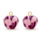 1 Stück Faux Fur PomPom - Leopard Pink (Gold)