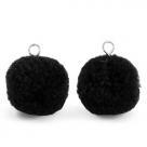 1 Stück Woll PomPom - Black (Silber-Öse)