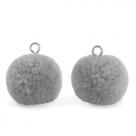 1 Stück Woll PomPom - Grey (Silber-Öse)