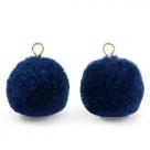1 Stück Woll PomPom - Marine Blue (Gold-Öse)