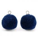 1 Stück Woll PomPom - Marine Blue (Silber-Öse)