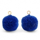 1 Stück Woll PomPom - Cobalt Blue (Gold-Öse)
