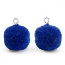 1 Stück Woll PomPom - Cobalt Blue (Silber-Öse)