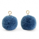 1 Stück Woll PomPom - Denim Blue (Gold-Öse)