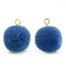 1 Stück Woll PomPom - Blue (Gold-Öse)