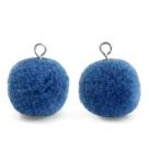 1 Stück Woll PomPom - Blue (Silber-Öse)