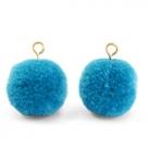1 Stück Woll PomPom - Turquoise Blue (Gold-Öse)