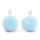 1 Stück Woll PomPom - Sky Blue (Silber-Öse)