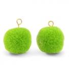 1 Stück Woll PomPom - Dk Lime Green (Gold-Öse)