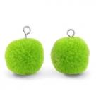 1 Stück Woll PomPom - Dk Lime Green (Silber-Öse)