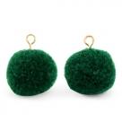 1 Stück Woll PomPom - Emerald Green (Gold-Öse)