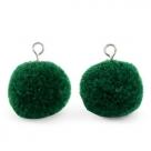1 Stück Woll PomPom - Emerald Green (Silber-Öse)