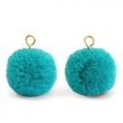 1 Stück Woll PomPom - Turquoise Green (Gold-Öse)