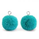 1 Stück Woll PomPom - Turquoise Green (Silber-Öse)