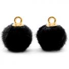 1 Stück Faux Fur PomPom - Black (Gold)