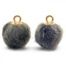 1 Stück Faux Fur PomPom - Grey (Gold)