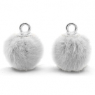 1 Stück Faux Fur PomPom - Lt Grey (Silber)