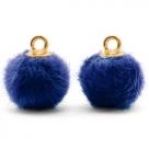 1 Stück Faux Fur PomPom - Cobalt Blue (Gold)