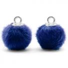 1 Stück Faux Fur PomPom - Cobalt Blue (Silber)