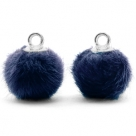 1 Stück Faux Fur PomPom - Marine Blue (Silber)